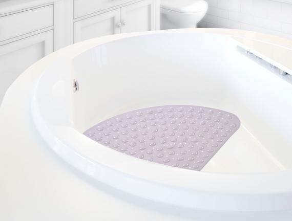 Vakumlu Şeffaf Pvc Banyo Paspası - Mürdüm - 38x70 cm