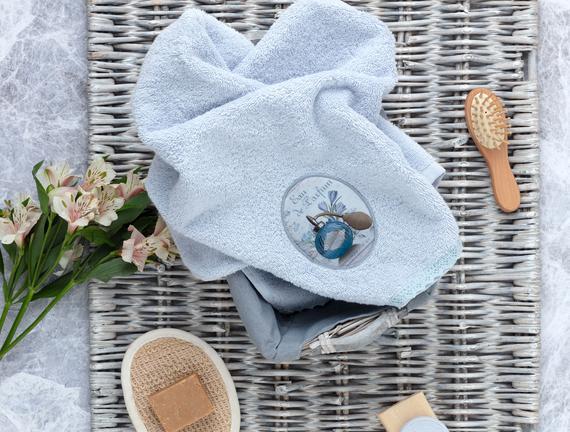 Bouteille de Parfum Dijital Baskılı Nakışlı Havlu - Mavi
