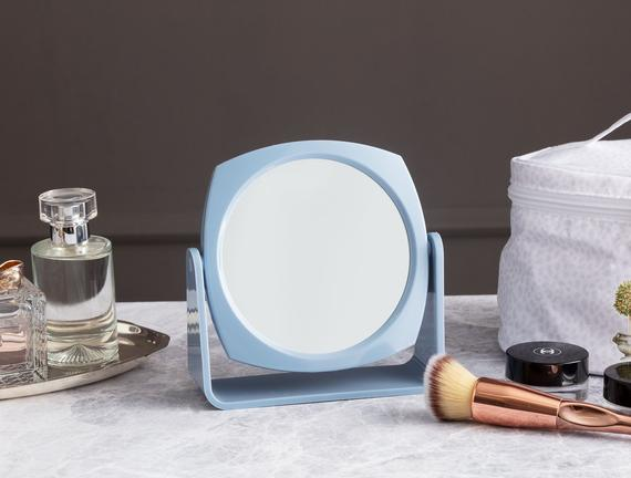 Double-Sided Makeup Mirror - Blue