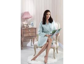 Sakura Kimono Kadın Pike Bornoz - Mint / Beyaz (L - XL)