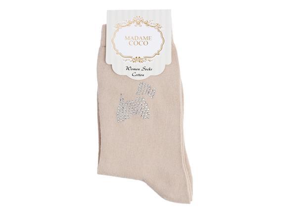 Kristal Köpek Baskılı Bayan Soket Çorap - Bej