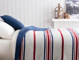Pamuklu Çizgili Tek Kişilik Battaniye 150x200 cm