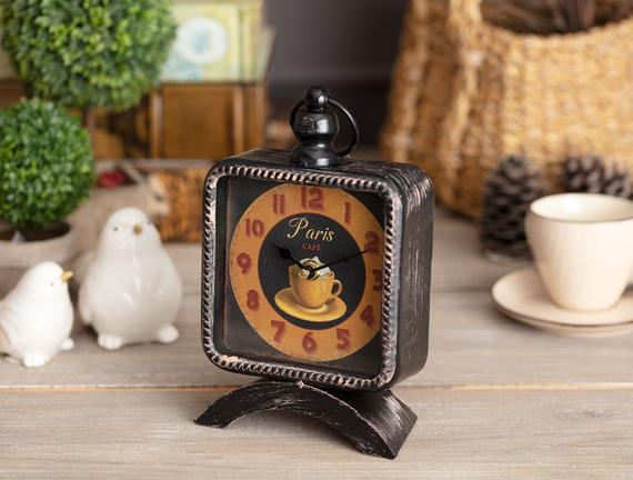 Vintage Café Masa Saati - Siyah