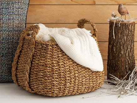 Colombe Örme Kulplu Hasır Sepet