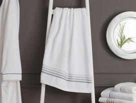 Ruban Armürlü Büyük Banyo Havlusu - Beyaz / Gri
