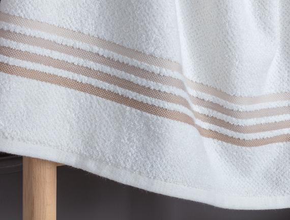 Ruban Armürlü Banyo Havlusu - Beyaz / Toprak - 70x140 cm