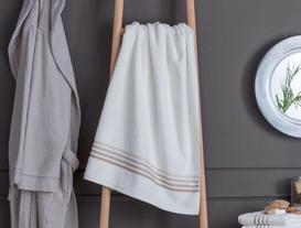 Ruban Armürlü Banyo Havlusu - Beyaz / Toprak