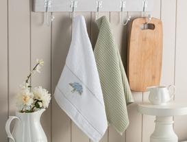 2'li Nakışlı Mutfak Havlusu - Beyaz / Yeşil