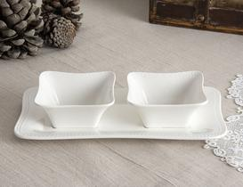 Spring New Bone China 2'li Servis Seti - Beyaz