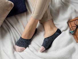 Geometrik Kadın Babet Çorabı - Lacivert