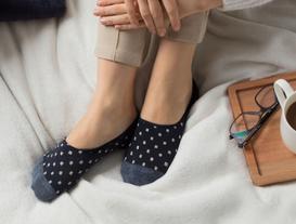 Simli Kareli Kadın Babet Çorabı - Lacivert / Silver