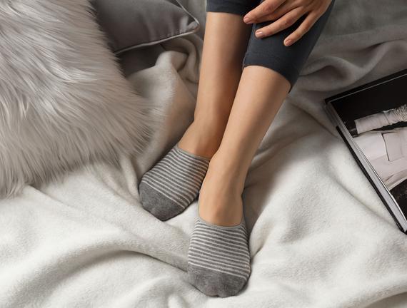 Simli Çizgili Kadın Babet Çorabı - Antrasit / Silver