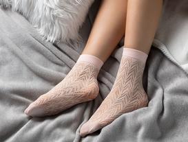 Angel Kadın File Soket Çorap - Pudra