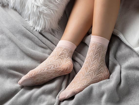 Angel File Soket Çorap - Pudra