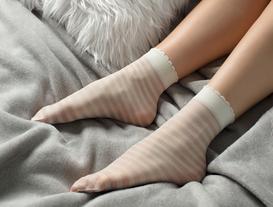 Çizgili Soket Çorap - Ekru