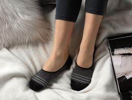 Simli Çizgili Kadın Babet Çorabı - Siyah / Silver