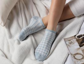 3'lü Kadın Ekose Simli Patik Çorap - Mavi