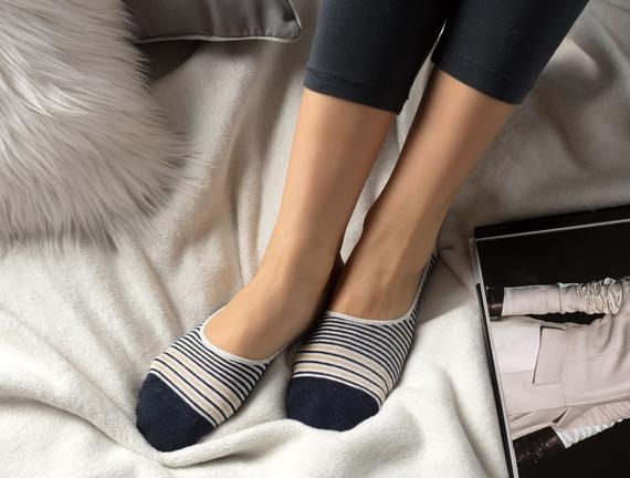 Simli Çizgili Kadın Babet Çorabı - Indigo / Gold