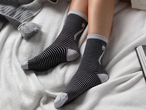 2'li Bayan Simli Kurdela Çorap - Siyah