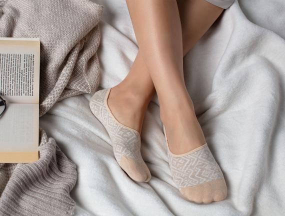 Geometrik Kadın Babet Çorabı - Bej
