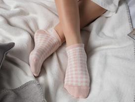 3'lü Kadın Ekose Simli Patik Çorap - Pudra