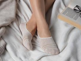 Simli Çizgili Kadın Babet Çorabı - Bej / Gold