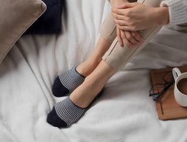 imli Çizgili Kadın Babet Çorabı - Lacivert / Gold