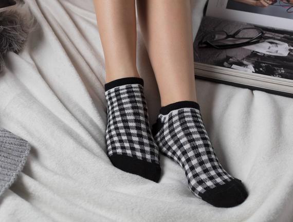 3'lü Kadın Ekose Simli Patik Çorap - Siyah