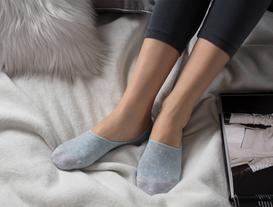 Simli Kareli Kadın Babet Çorabı - Mavi / Gold