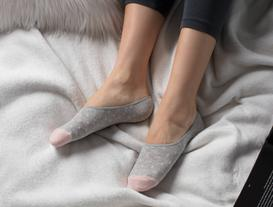 Simli Kareli Kadın Babet Çorabı - Gri / Gold