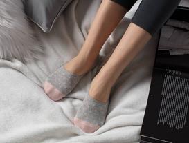 Women's No Show Socks - Grey/Gold