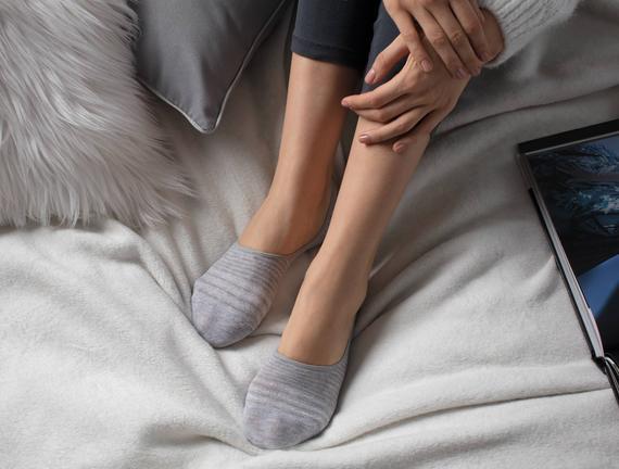 Simli Çizgili Kadın Babet Çorabı - Gri / Silver
