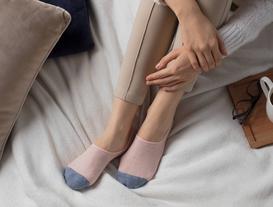 Simli Kareli Kadın Babet Çorabı - Pudra / Gold