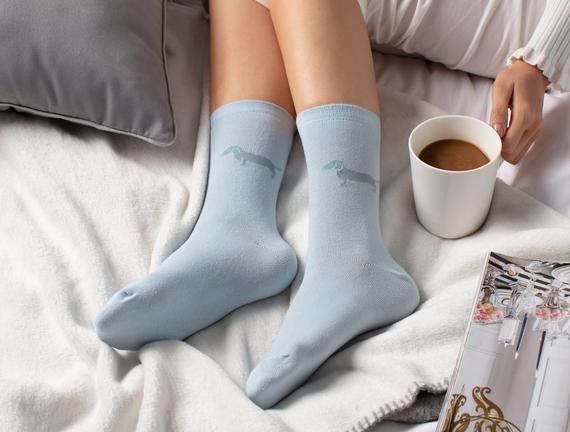 2'li Köpek Temalı Kadın Çorabı - Mavi