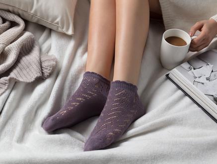 File Patik Kadın Çorabı - Mürdüm