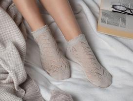 File Patik Kadın Çorap - Taş