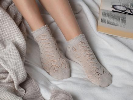 File Patik Kadın Çorabı - Taş