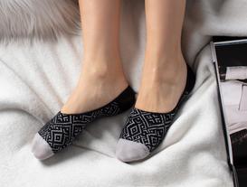 Geometrik Kadın Babet Çorabı - Siyah