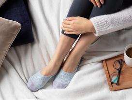 Geometrik Kadın Babet Çorabı - Mavi
