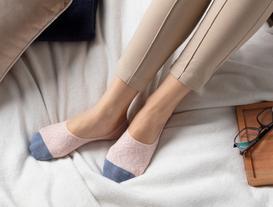Geometrik Kadın Babet Çorabı - Pudra