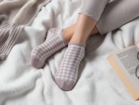 3'lü Kadın Ekose Simli Patik Çorap - Açık Mürdüm