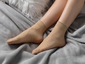 Çizgili Soket Çorap - Ten