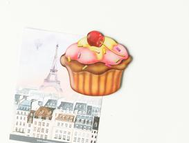 Refrigerator Magnet - Cherry Cupcake