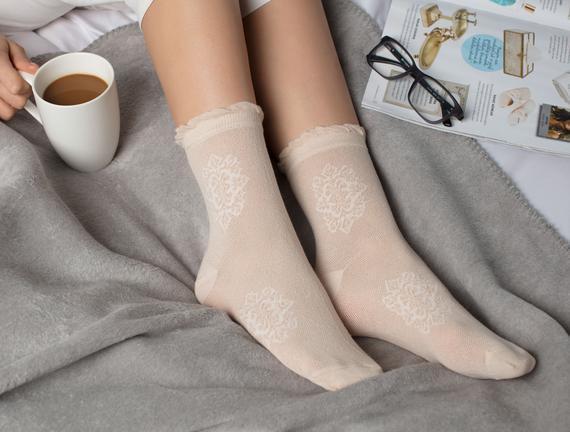 Yarım Soket Çorap - Bej