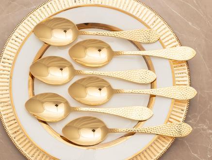 AL Noktalı 6'Lı Yemek Kaşığı - Gold