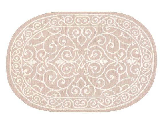 Lierre Çift Taraflı Oval Şönil Kilim - Mürdüm - 60x90 cm
