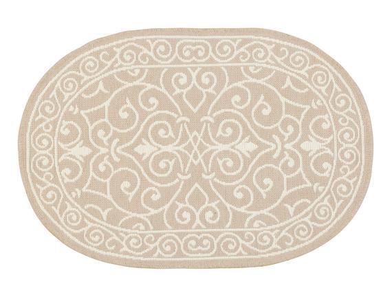 Lierre Çift Taraflı Oval Şönil Kilim - Taş - 60x90 cm