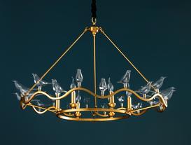 Oiseaux Chandelier - Gold