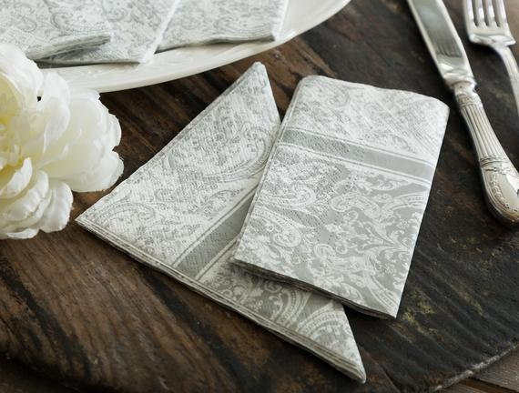 Royal Pattern Gray Peçete - Kare