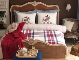 Annecy Double-Sided Single-Size Ranforce Duvet Cover Set - Burgundy